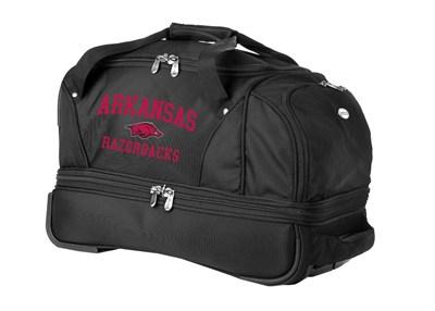 22-Inch Drop Bottom Rolling Duffel Luggage, Black - Arkansas Razorbacks