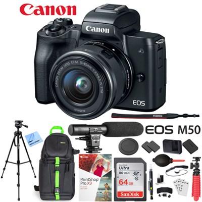 EOS M50 Mirrorless Digital Camera + 15-45mm Lens Microphone Deluxe Bundle Black