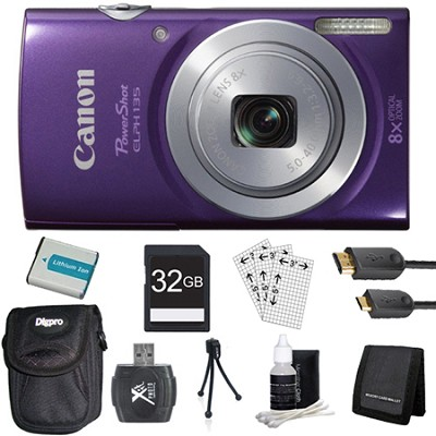 PowerShot ELPH 135 16MP 8x Optical Zoom Digital Camera Purple Kit