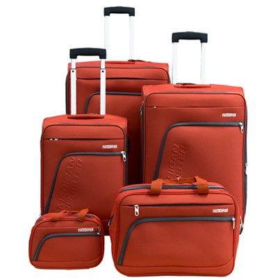 Glider 5Pc Spinner Luggage Set 28`, 24`, 20`, Boarding & Toiletry Bag - Orange