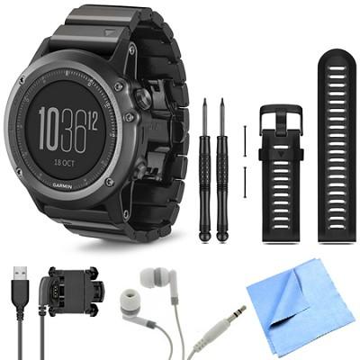 fenix 3 Multisport Training Sapphire GPS Watch Black Band Bundle