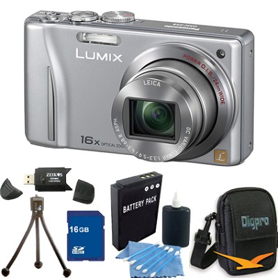 Lumix DMC-ZS8 14MP Silver Digital Camera w/ 16x Zoom 16BG Bundle