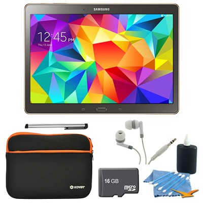 Galaxy Tab S 10.5` Tablet - (16GB, WiFi, Titanium Bronze) 16GB Accessory Bundle