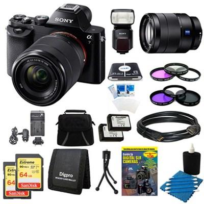 Alpha 7K a7K Digital Camera 24-70mmLens, 2 64GB Cards, 2 Batteries, Flash Bundle