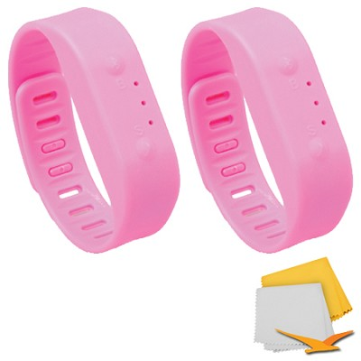 Bluetooth Activity Tracker Sports Bracelet 2-Pack Bundle - Pink