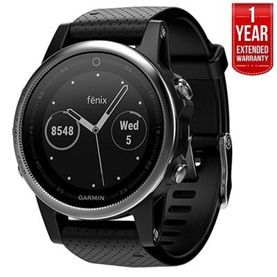 Fenix 5S Multisport 42mm GPS Watch Silver w/Black Band +1 Year Extended Warranty