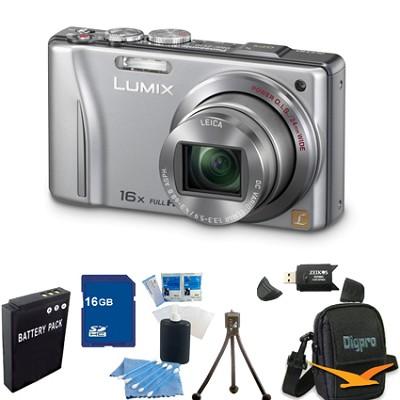 Lumix DMC-ZS10 14.1 MP Camera 16x Zoom Optical I.S. w GPS Silver 16 GB Bundle
