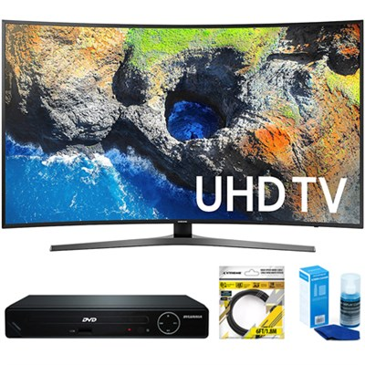Curved 65` 4K Ultra HD Smart LED TV 2017 Model +  DVD Player Bundles