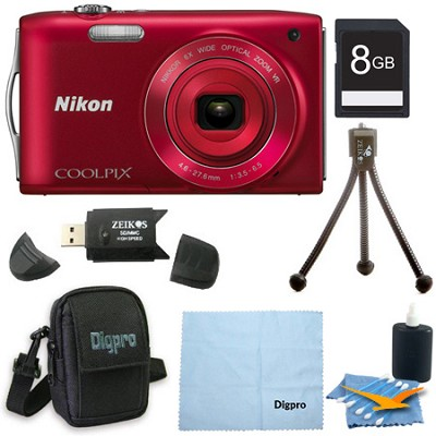 COOLPIX S3300 16MP 6x Opt Zoom 2.7 LCD 8GB Red Bundle