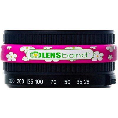 Stop Zoom Creep for One Size Fits All Lens - Daisies w/ Hot Pink Band