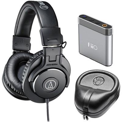ATH-M30x Professional Headphones w/ Slappa Case & FiiO A1 Amp Bundle