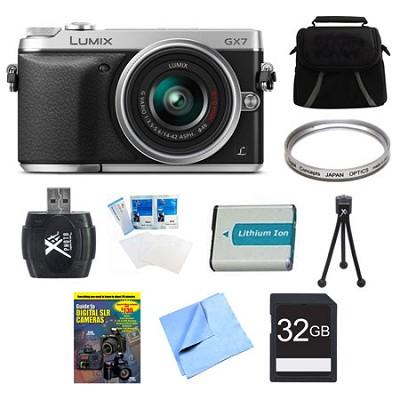 LUMIX DMC-GX7 DSLM Silver Camera with 14-42 II Lens 32GB Bundle