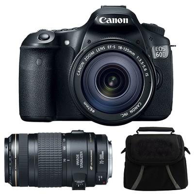 EOS 60D Camera w/ 18-135mm & 70-300mm Lenses and Case Bundle