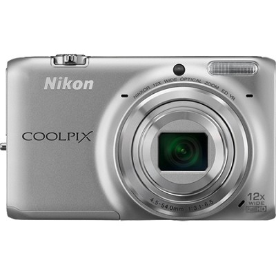 COOLPIX S6500 16 MP Digital Camera 12x Zoom Built-In Wi-Fi (Silver) Refurbished