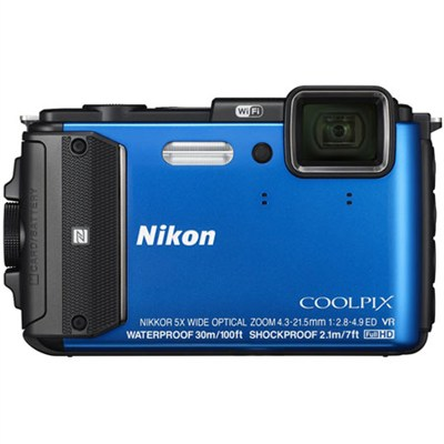COOLPIX AW130 16MP 1080p Waterproof Blue Digital Camera - Refurbished