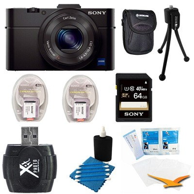 Cybershot DSC-RX100M II Cyber-shot 20.2MP Digital Camera + Accessories Kit Black