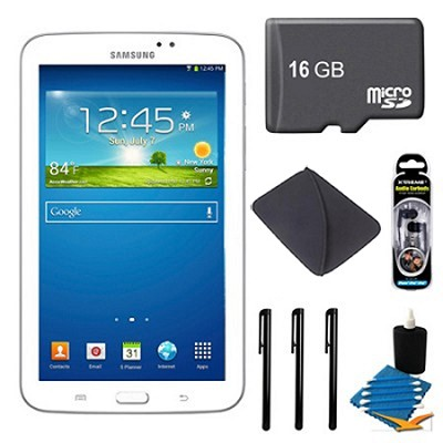 Samsung Galaxy Tab 3 (7-Inch, White) + 16GB Micro SDHC and More