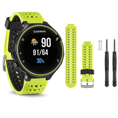 Forerunner 230 GPS Running Watch, Force Yellow - Yellow Watch Band Bundle