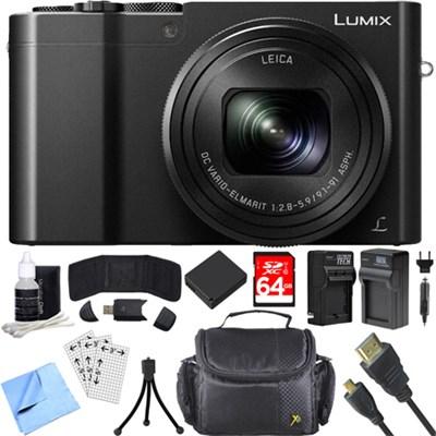 ZS100 LUMIX 4K 20 MP Digital Camera w/ Wi-Fi Black (DMC-ZS100K) 64GB Card Bundle