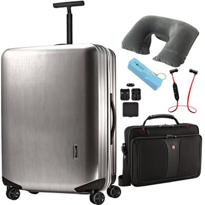 Inova 20 Inch Hardside Spinner Metallic Silver - Ultimate Travel Bundle