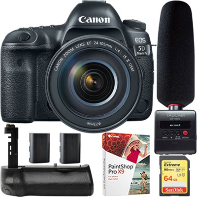 EOS 5D Mark IV DSLR Camera 24-105mm IS II USM Lens + DR-10SG Microphone Kit