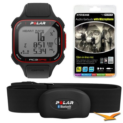 RC3 GPS Watch with Heart Rate Monitor - Black (90048174) Bundle