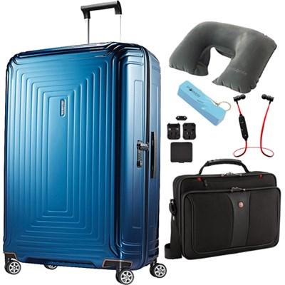 20` Neopulse Hardside Spinner in Metallic Blue - Ultimate Travel Bundle