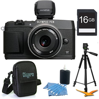 PEN E-P5 16MP Compact System Camera (Black) 17mm f1.8 Lens and VF-4 16 GB Kit