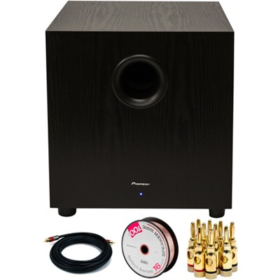 400W Powered Subwoofer Black with Banana Plugs & Cables Bundle