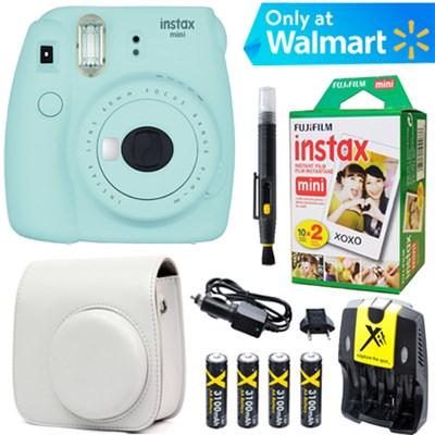 Instax Mini 9 Instant Camera  (Ice Blue) + White Case + 20pk Film Kit