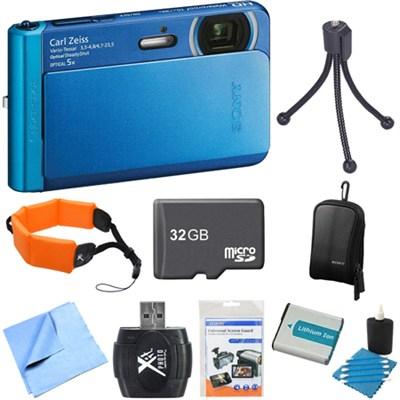 DSC-TX30/L Blue 18.2MP Water, Dust, Freeze, Shockproof Camera 32GB Bundle