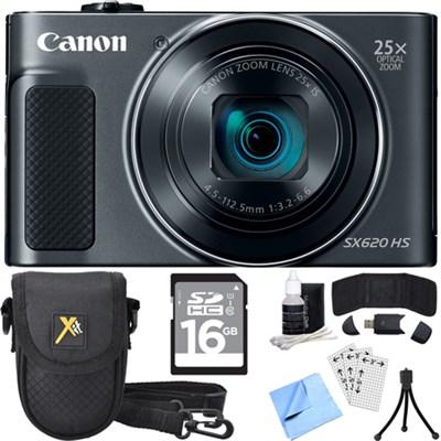 PowerShot SX620 HS 20.2MP Digital Camera Black w/ Essential Accessory Bundle