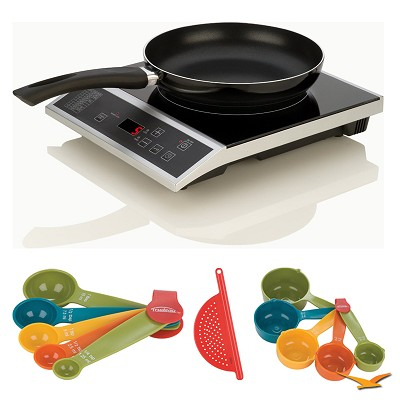 Countertop Induction 2 Pc. Cooking Set, Measuring Sets and Drainer Bundle