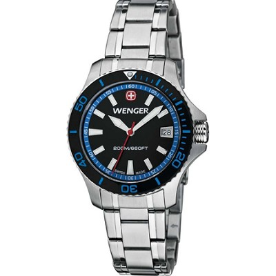 Ladies' Sea Force Swiss Watch - Black and Blue Dial/Stainless Steel Bracelet