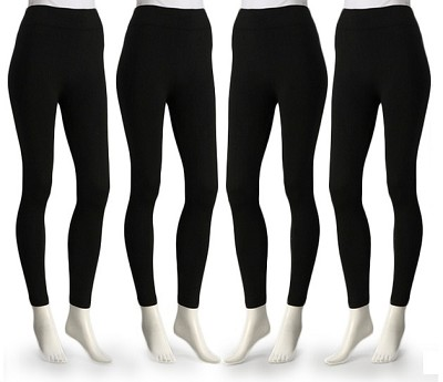 4-Pack Midnight Black Fleece Lined Leggings X-Large Size ( 1X/2X )