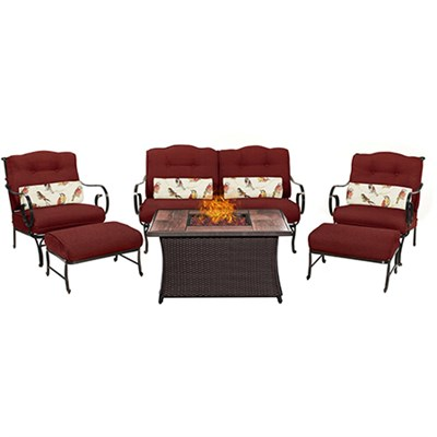 Oceana 6-Piece Woven Fire Pit Set with Wood Grain Tile Top - OCE6PCFP-RED-WG