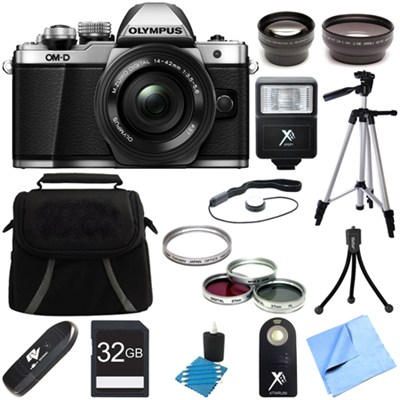 OM-D E-M10 Mark II Mirrorless Digital Camera w/ 14-42mm EZ Lens (Silver) Bundle