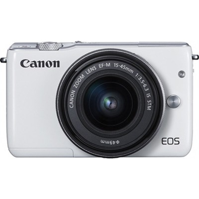 EOS M10 Mirrorless Camera with EF-M 15-45mm f/3.5-6.3 IS STM Lens Kit (White)