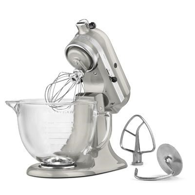 Artisan Series 5-Quart Stand Mixer in Sugar Pearl Silver w/ Glass Bowl - KSM155