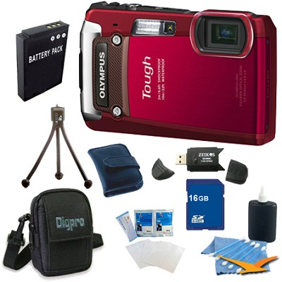 16GB Kit Tough TG-820 iHS 12MP Water/Shock/Freezeproof Digital Camera - Red