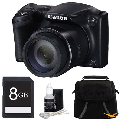 Powershot SX400 IS 16MP 30x Optical Zoom 720p HD Digital Camera Bundle - Black
