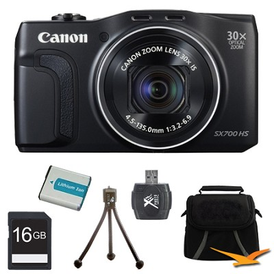 PowerShot SX700 HS 16.1MP HD 1080p Digital Camera Black 16GB Kit