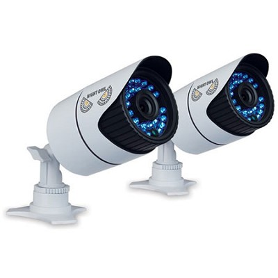 900 TVL 2-PK Bullet High Res Cameras, 100 ft Night Vision, Filter, 60ft Cable