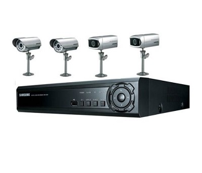 SHR-1041K 4CH Audio/Video Real-Time DVR with 250GB HDD, 2 Weather Resistant Came