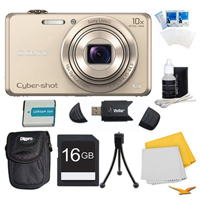 DSC-WX220 Gold Digital Camera, 16GB Card, Case, and Battery Bundle