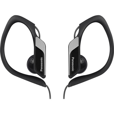 Water-Resistant Sport Clip Adjustable Earbud Headphones, Black