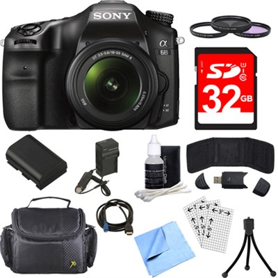 ILCA68K/B a68 A-Mount 24.2MP Digital Camera with 18-55mm Zoom Lens 32GB Bundle