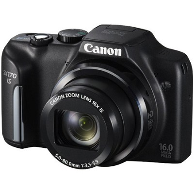 PowerShot SX170 IS 16MP Digital Camera with 16X Optical Zoom - Black