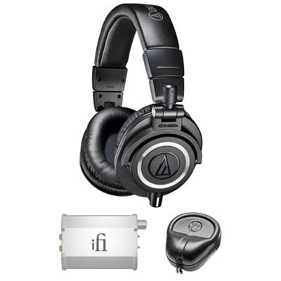 Professional Studio Headphones - ATH-M50x w/ iFi Audio Port. Amp. Bundle