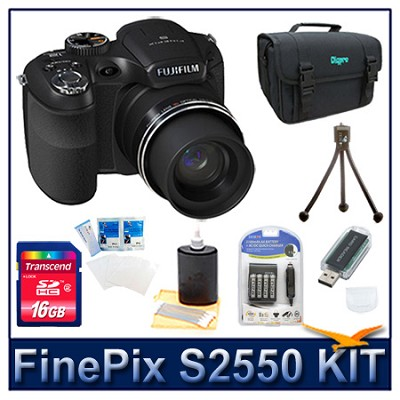 FinePix S2550 + 16GB Memory Card + Card Reader + Battery + Case + More